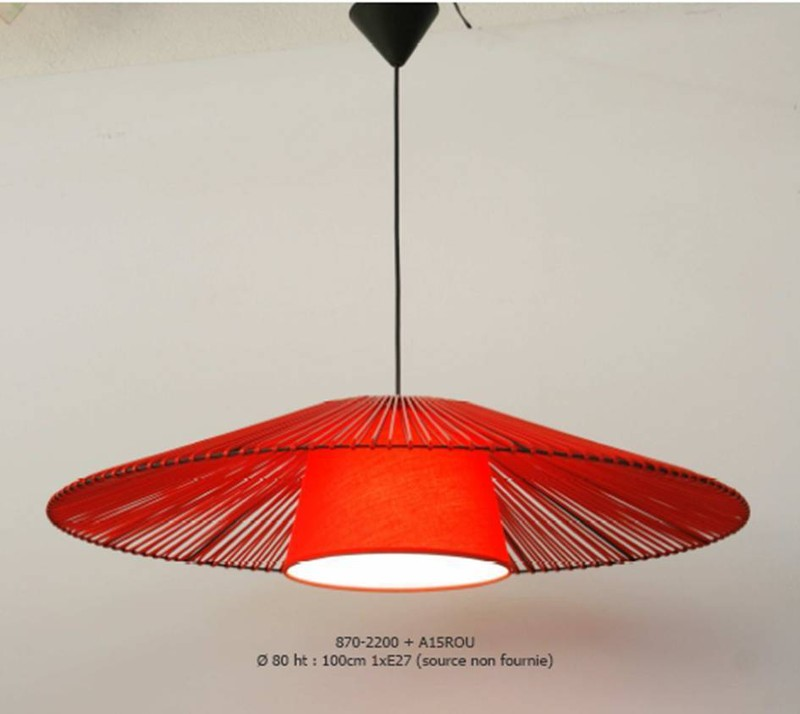 Suspension zig zag rouge un autre regard luminaires pierrel for Suspension luminaire cuisine rouge